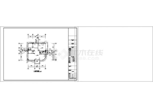 沈阳市某小区3层混合结构私人别墅全套给排水设计CAD图纸-图一