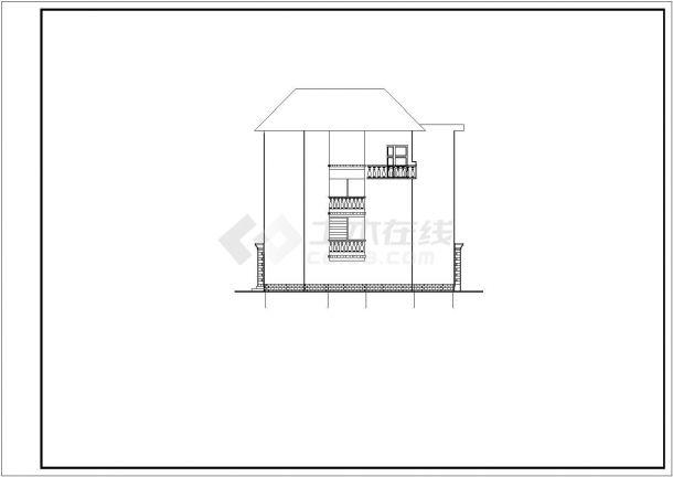 310平米3层框混结构单体别墅全套平立剖面设计CAD图纸(含效果图)-图二