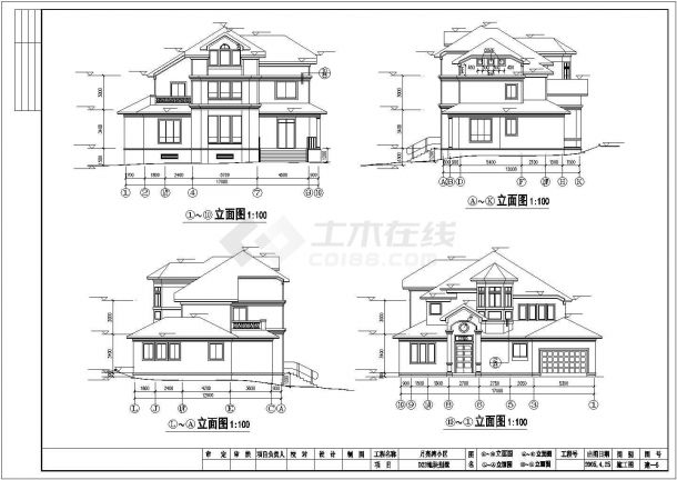 360平米3层框混结构单体别墅建筑设计CAD图纸(含总平面图)-图二