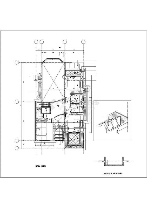 徐州市某村镇350平米左右3层砖混结构单体别墅建筑设计CAD图纸-图二