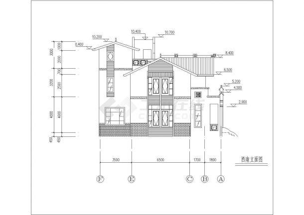 310平米左右三层混合结构单体别墅平立面设计CAD图纸(含效果图)-图二