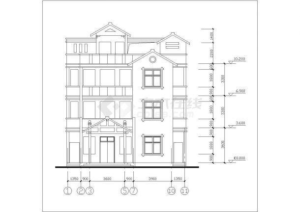 410平米4层砖混结构乡村别墅全套平立剖面设计CAD图纸(含效果图)-图一