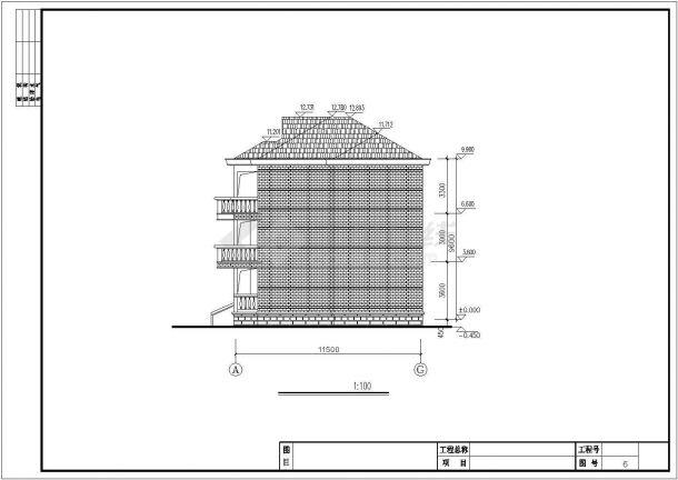 占地140平米3层砖混结构单体乡村别墅建筑设计CAD图纸(含效果图)-图二