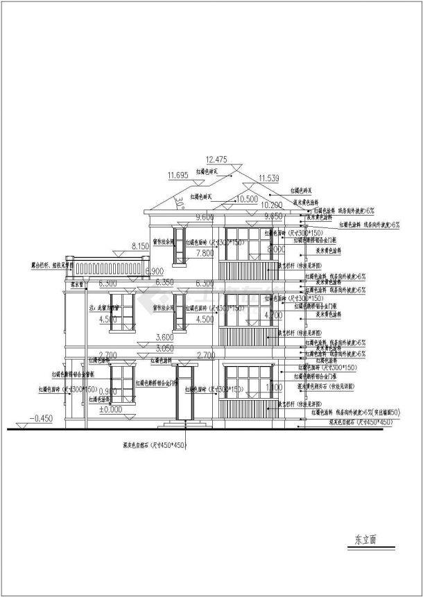 占地115平米3层框混结构乡村单体别墅平立剖面设计CAD图纸(含效果图)-图二
