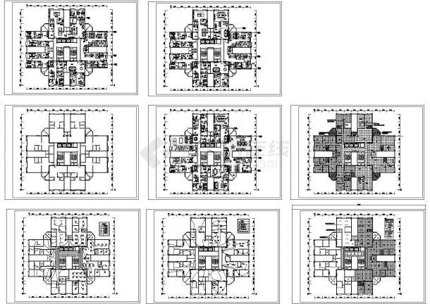 某豪景小区住宅整层装修cad设计平面施工图(标注详细)-图一