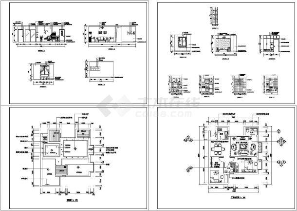 某地现代居室装修全套方案cad图【平布置面图 顶棚图 室内立面图】-图一