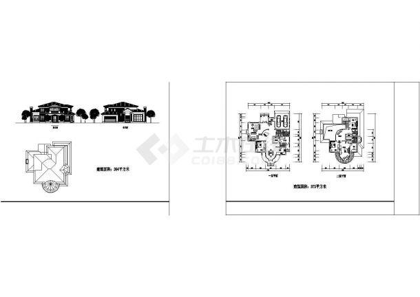 农村独栋别墅装修设计CAD图-图一