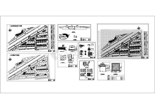某大型楼盘居住区园林景观施工图(含:景墙,水池,亭子施工图)-图一