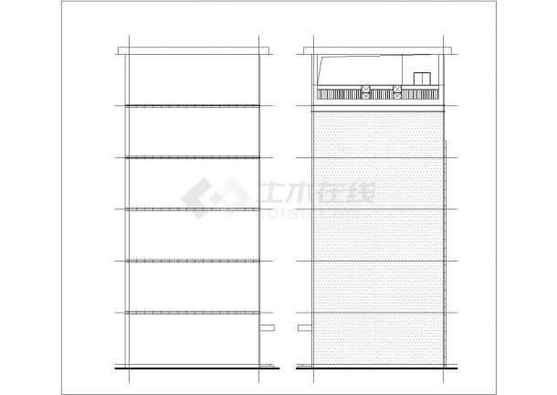 南京市某实验小学1800平米五层框架结构教学楼建筑设计CAD图纸-图一