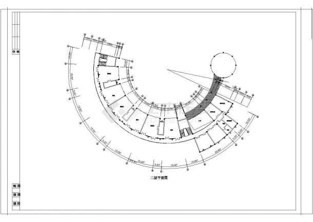 9班:3644平米弧型幼儿园建筑方案cad设计图-图一