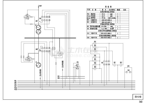 [原理图]某电站同期系统设计cad电气原理图(甲级院设计)-图一