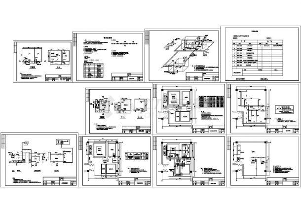 北京中水回用处理工程设计施工cad图纸,共十一张-图一