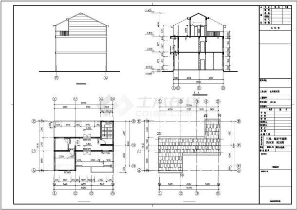 三层新农村单家独院式别墅建筑cad设计施工图-图一