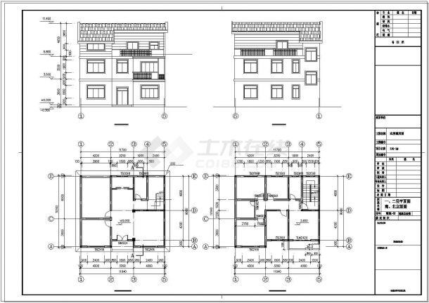 三层新农村单家独院式别墅建筑cad设计施工图-图二