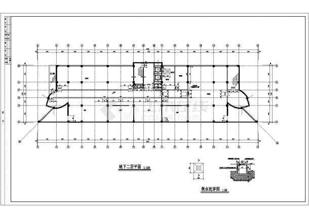 景区高档酒全套店建筑设计cad图纸(含集水坑详图,首层平面图)-图二