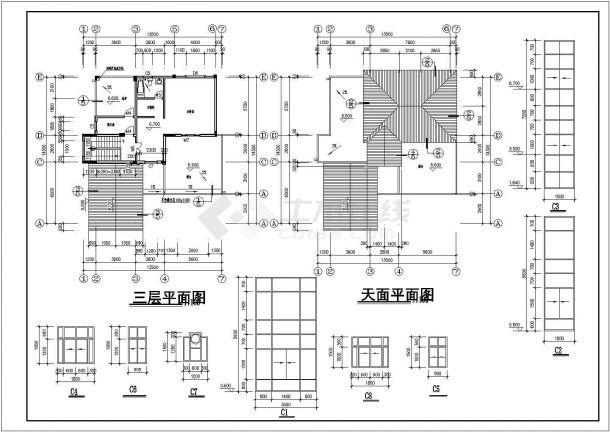 某地区占地面积190平米高度9米单家独院式别墅建筑设计CAD图(含设计说明)-图一