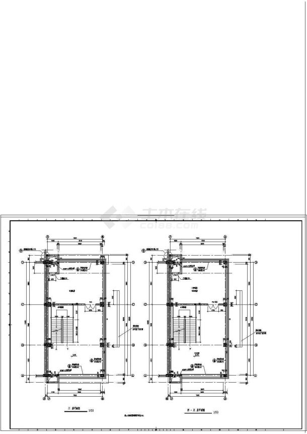 商业步行街六层塔楼楼梯cad设计图纸-图二