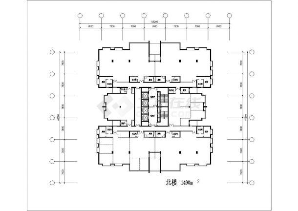 某地高层金潮大厦全套施工设计cad图纸(含总平面图)-图一