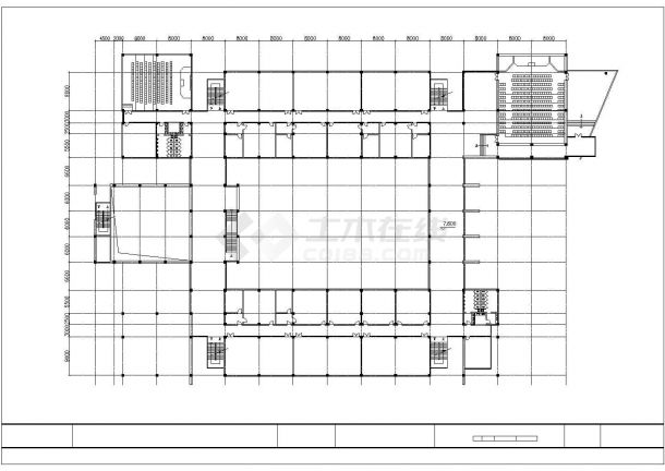 安徽某高校1.2万平米五层框架结构教学楼平立剖面设计CAD图纸-图一