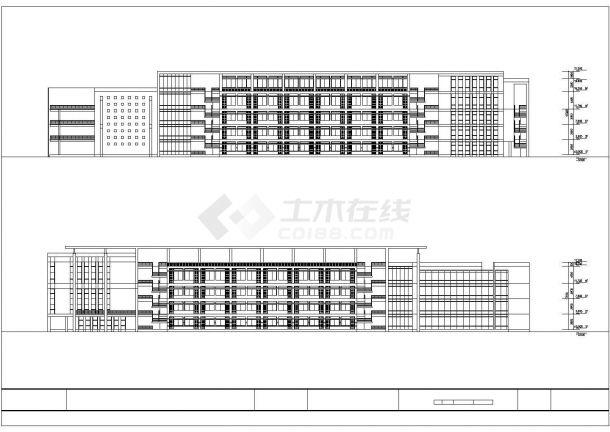 安徽某高校1.2万平米五层框架结构教学楼平立剖面设计CAD图纸-图二