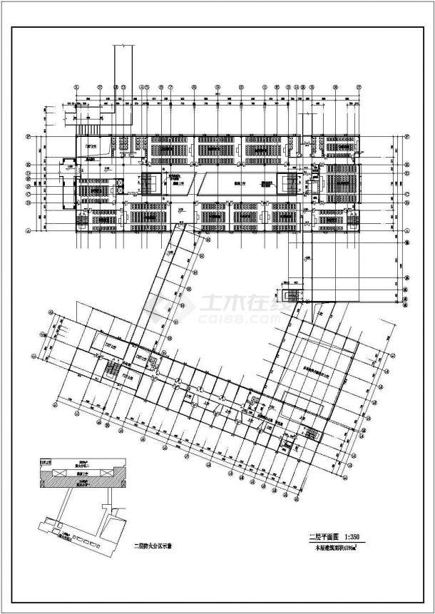 烟台市某大学2万平米左右6层框架结构教学楼全套建筑CAD设计图纸-图一