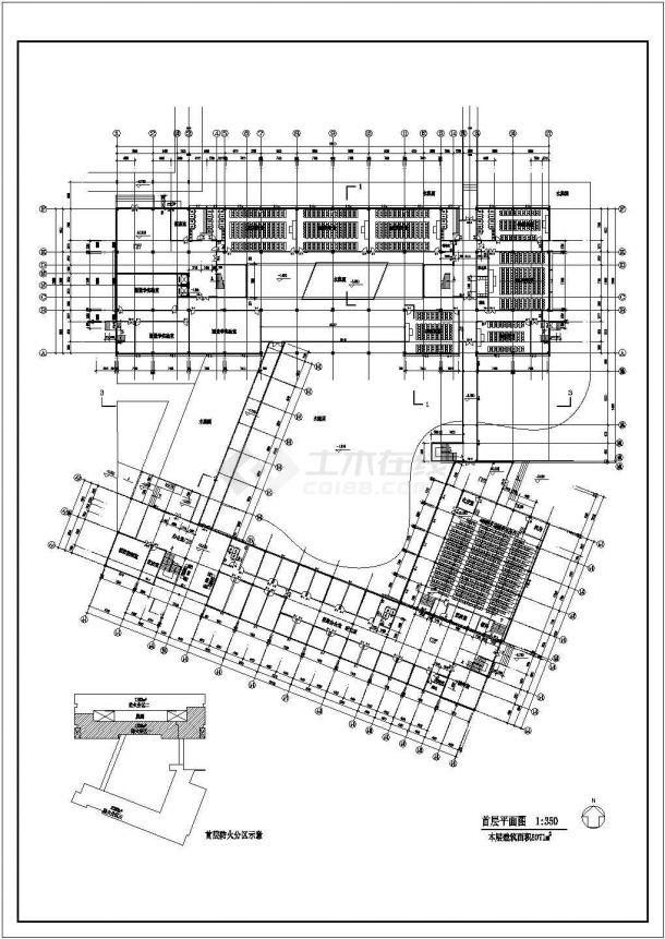 烟台市某大学2万平米左右6层框架结构教学楼全套建筑CAD设计图纸-图二
