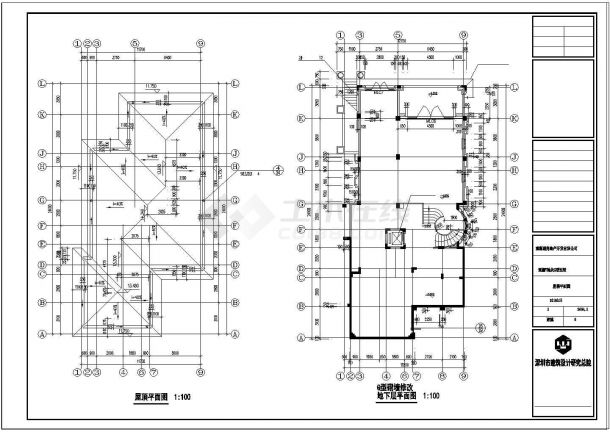三层别墅建筑结构水电全套设计cad施工图-图一
