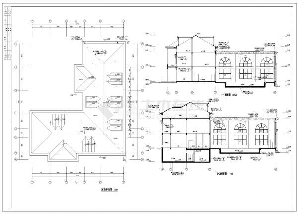 [南昌]某国际花园三层欧式高档商业会所建筑施工cad图纸-图一