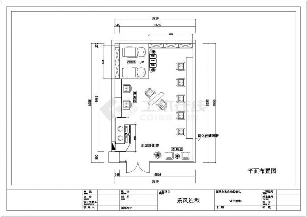 胶南市某街道乐风理发店室内装修设计CAD图纸-图一
