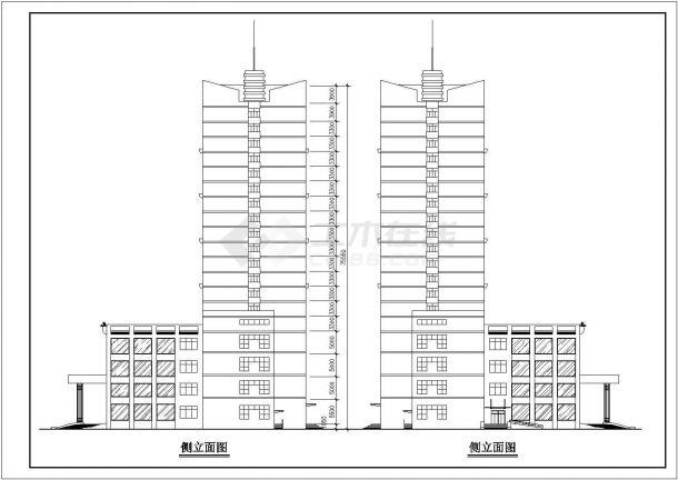 湖州市某商业街20层框架结构商务酒店建筑CAD设计图纸(1-4层商铺)-图二