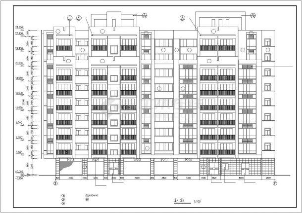 占地600平米9层框混结构住宅楼建筑CAD设计图纸(底层为架空层)-图二