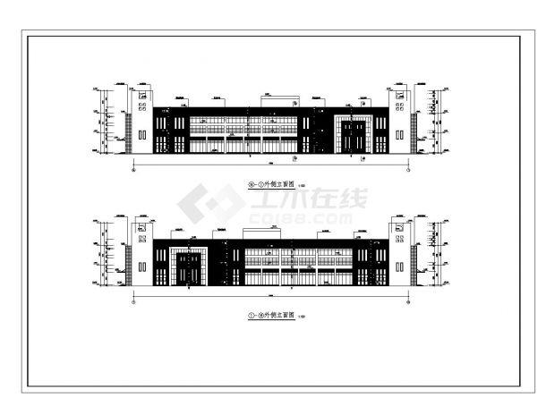 [山东]某高校二层食堂建筑施工cad图纸-图一