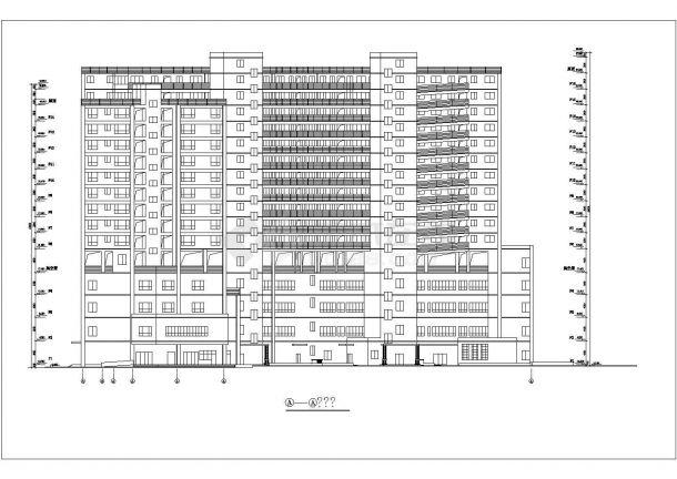 1.2万平米16层框架结构商住楼建筑设计CAD图纸(含总平面图)-图一