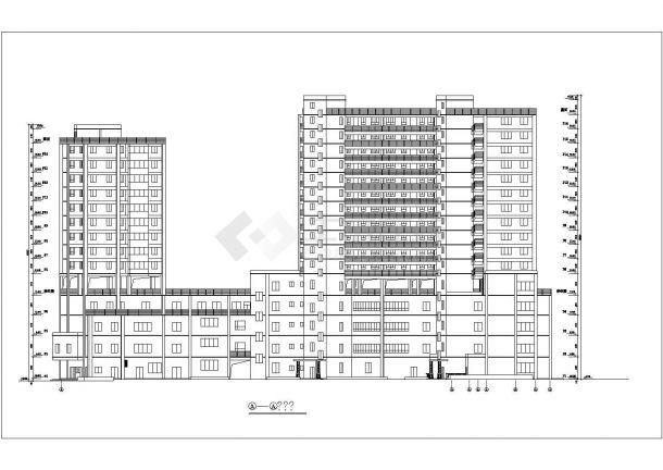 1.2万平米16层框架结构商住楼建筑设计CAD图纸(含总平面图)-图二