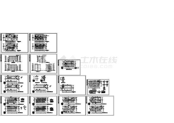 某4层框架结构综合楼CAD结构施工设计图-图二