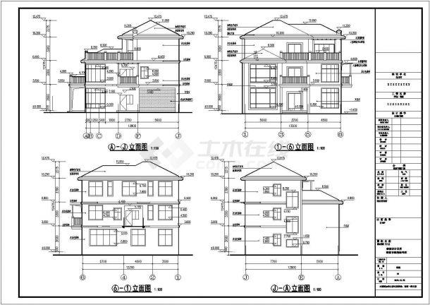 贵阳市某村镇占地170平米三层框架结构独栋别墅建筑CAD设计图纸-图一