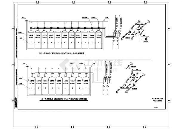 办公楼设计_某地超高层办公楼给排水全套设计cad施工图纸-图二