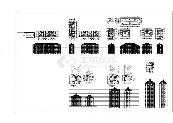 某小高层框架结构住宅楼设计cad全套建筑方案图纸(标注详细)-图二