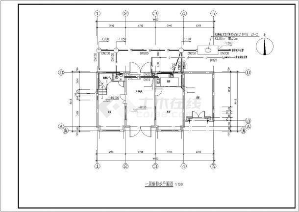临沂市某现代化小区2层混合结构休闲别墅给排水CAD设计图纸-图一
