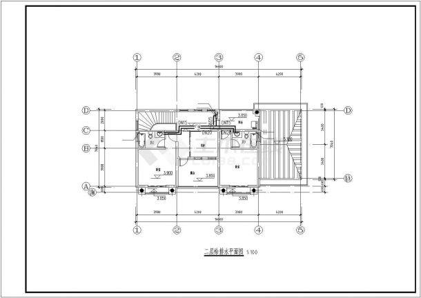 临沂市某现代化小区2层混合结构休闲别墅给排水CAD设计图纸-图二