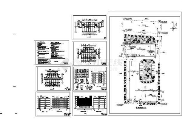 某多层钢筋混凝土框架结构宿舍楼设计cad全套建筑方案图(含设计说明)-图一