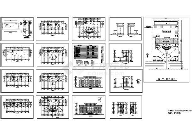 6275平米八层办公楼建筑设计施工cad图,共十七张-图一