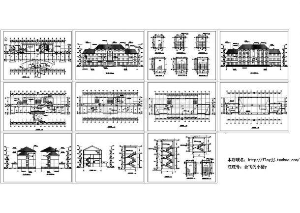 四层商场办公楼建筑设计施工cad图纸,共十一张-图一