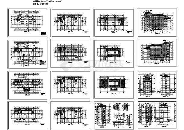 八层办公楼建筑设计施工cad图纸(含地下一层,共十六张)-图一