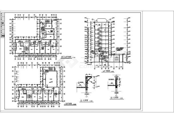 某地私人宾馆建筑设计cad施工图纸-图二