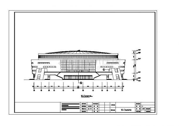 [修水县]某文化体育中心体育馆幕墙外装饰施工cad图纸-图一