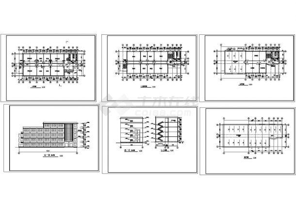 办公楼设计_某中学五层砖混结构办公楼设计cad全套建筑施工图(甲级院设计)-图一
