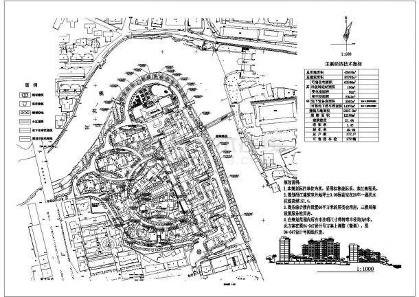 [桂林]某沿江居住区规划总平面施工图-图一