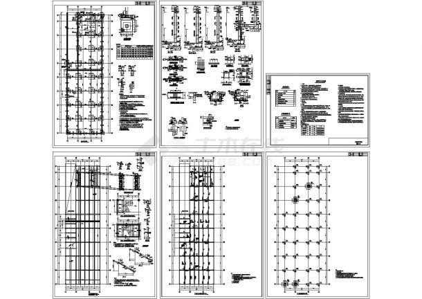 单层矩形柱框架结构地下车库结构设计图纸-图一