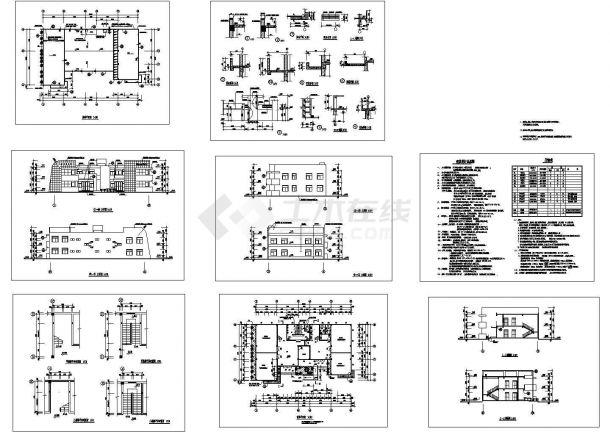某二层框架结构幼儿园教学楼(建筑面积815.8平方米)设计cad全套建筑施工图(含设计说明)-图一